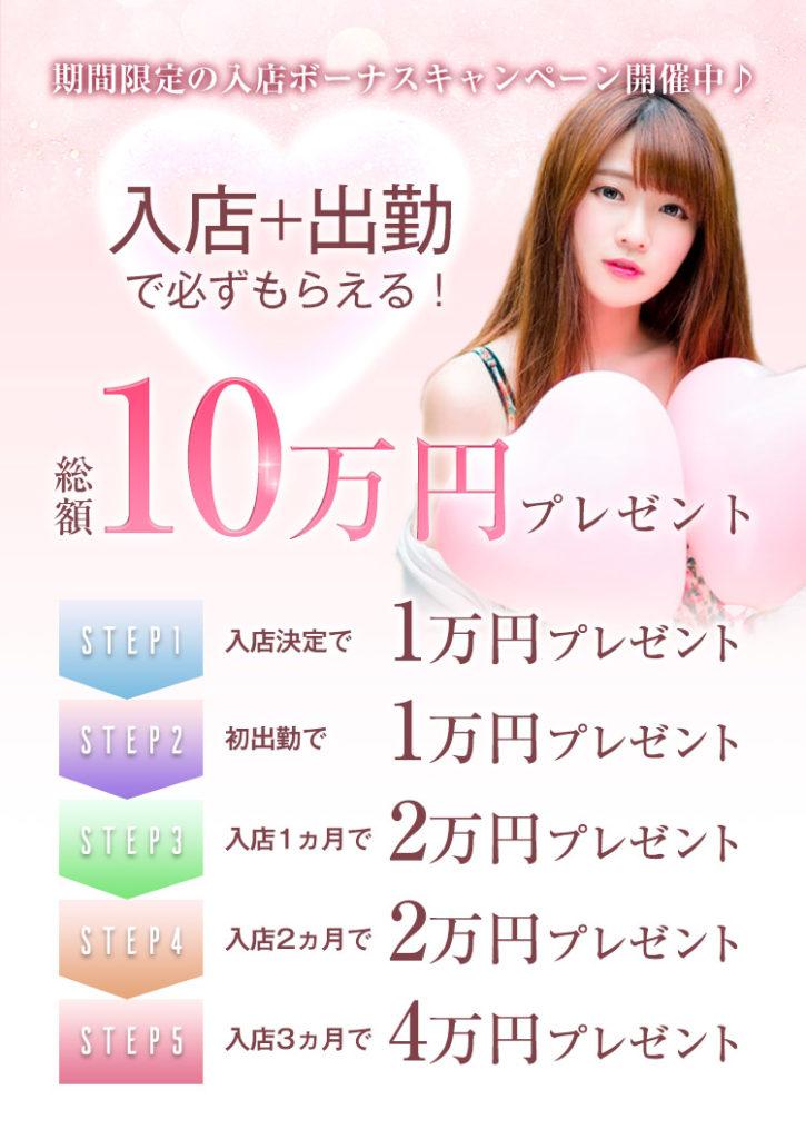 期間限定の入店・出勤キャンペーン!総額10万円進呈!